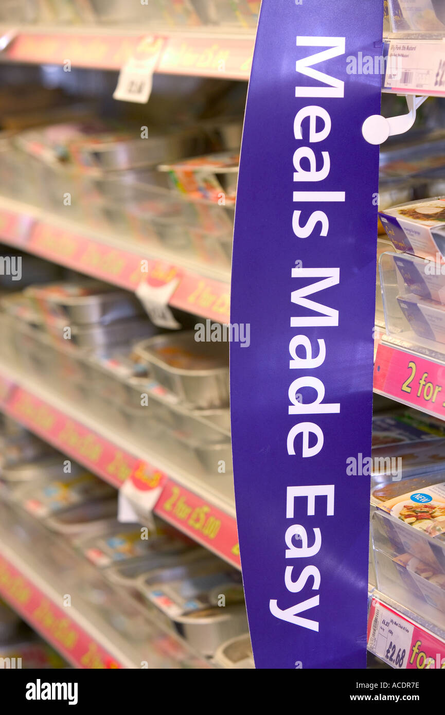 ready meals for sale in Asda supermarket - Stock Image