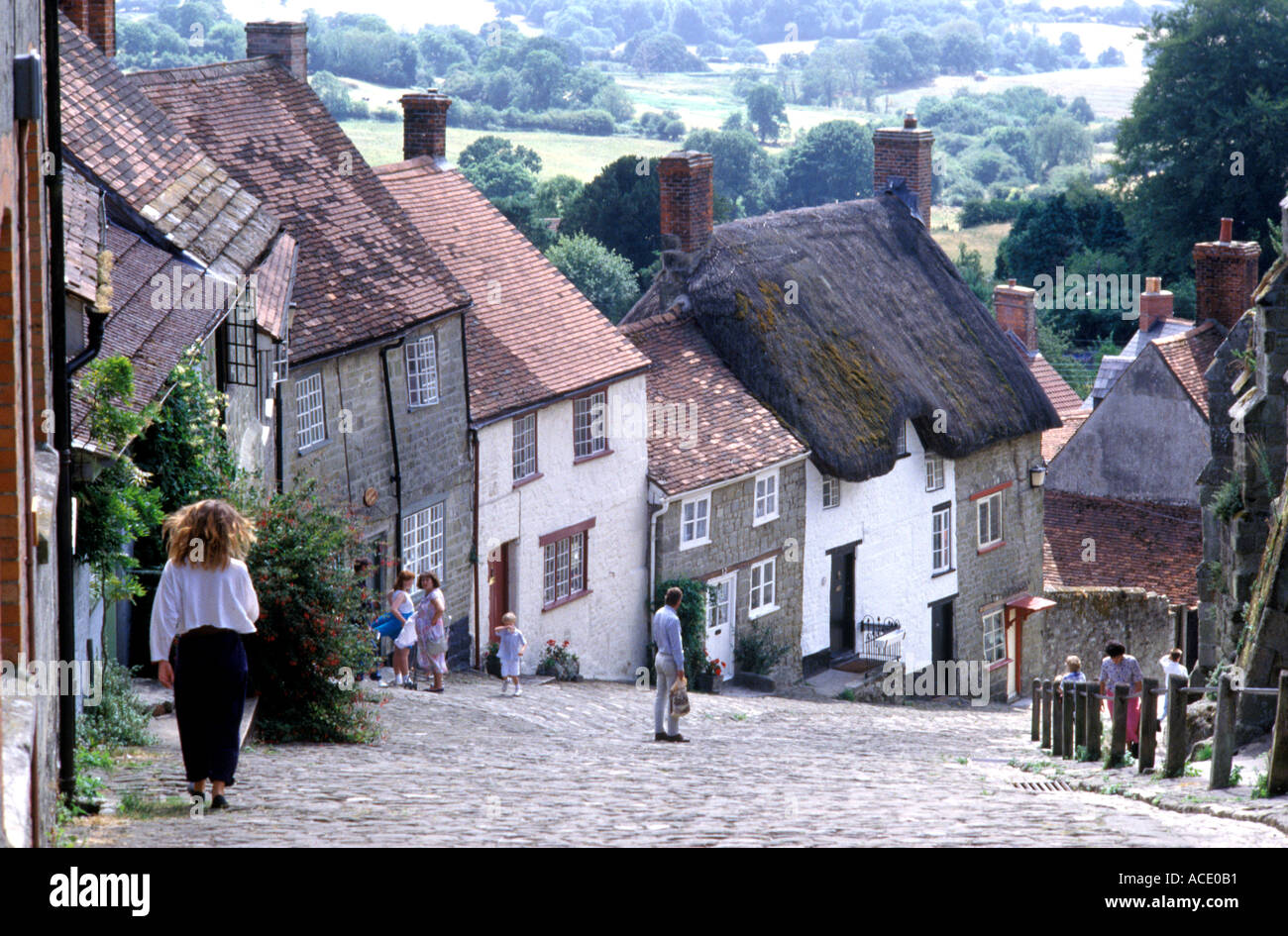 Gold Hill in Shaftesbury Dorset Britain - Stock Image