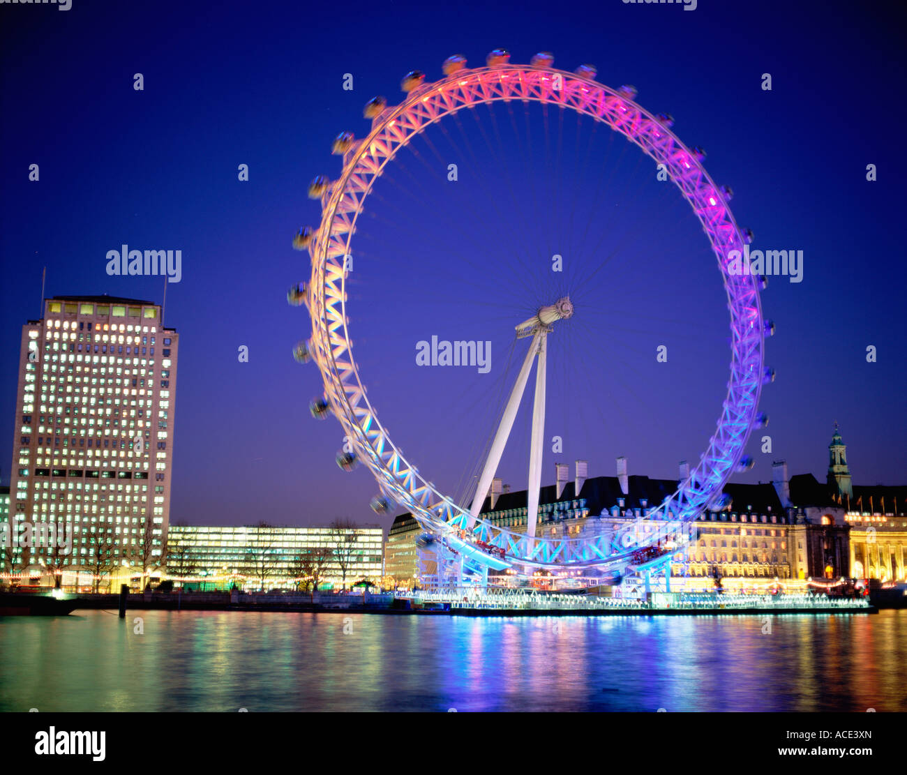 GB LONDON  EYE AND RIVER THAMES Stock Photo