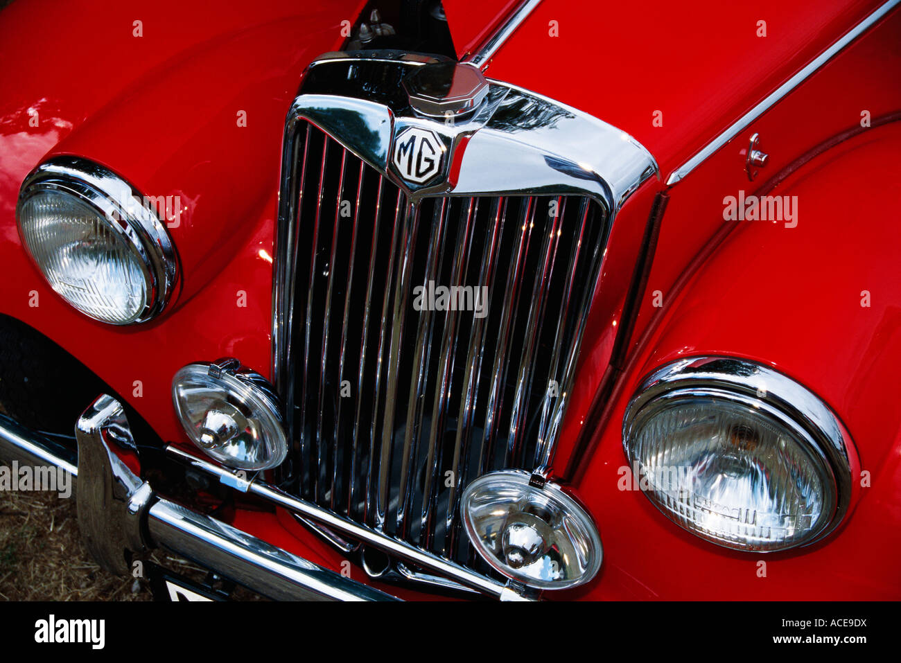 The hood of a vintage car close-up. - Stock Image