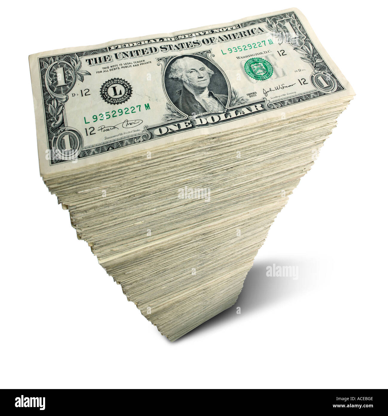 Stack of US 1 dollar bills - Stock Image