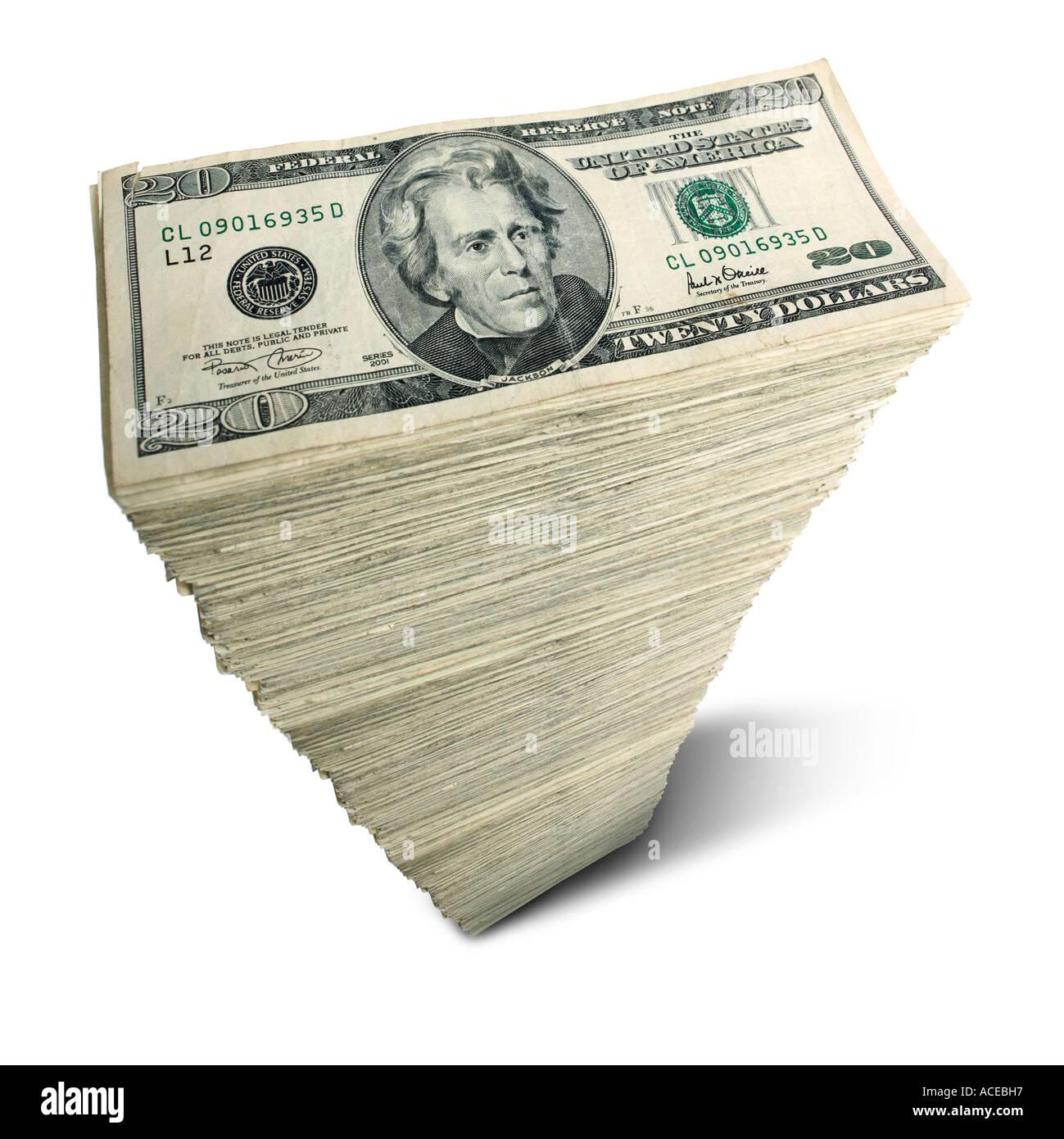 Stack of US 20 dollar bills - Stock Image