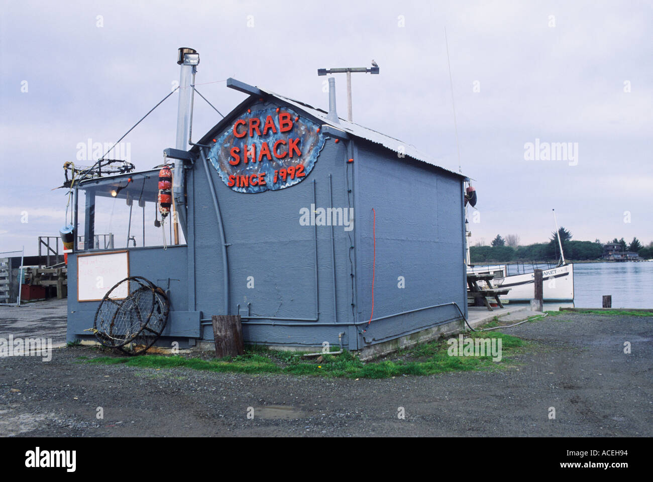 Crab shack along the harbor in the city of Eureka in Humboldt County California USA Stock Photo