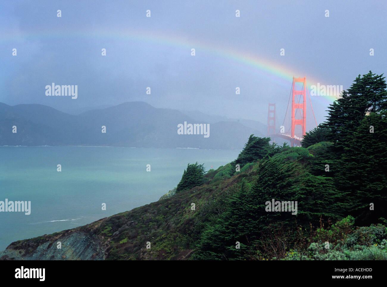 A rainbow over the Golden Gate Bridge San Francisco California United States of AmericaStock Photo