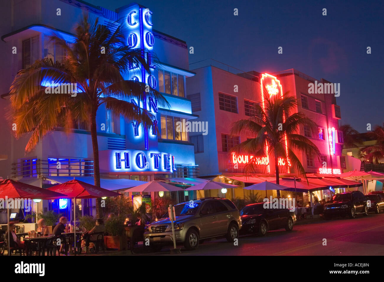 Art deco hotels at night with neon lights along Ocean Drive in the