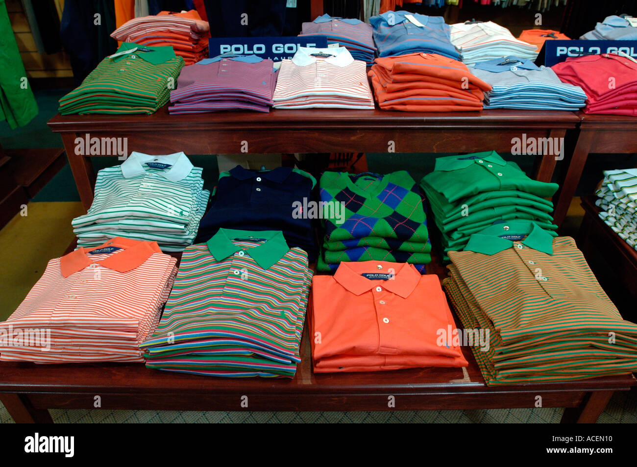 a9a9117d Polo golf shirts by Ralph Lauren at the New York Golf Center - Stock Image