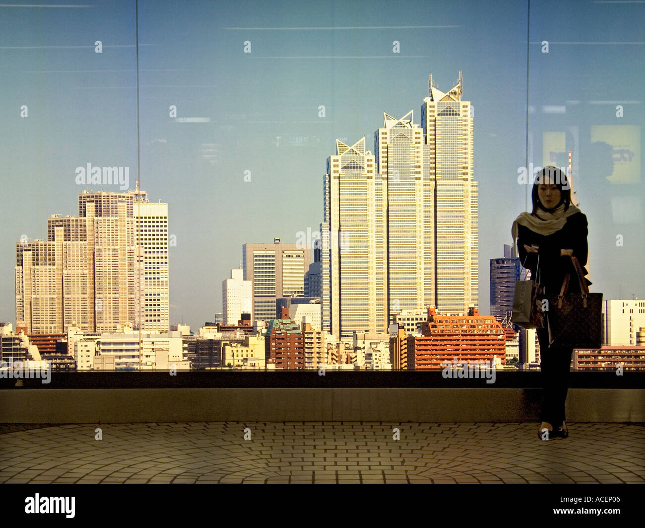 woman standing in front of giant tokyo city skyline mural inside