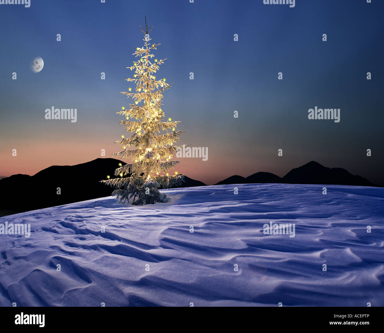 CH - ENGADIN:  Alpine Christmas Scene Stock Photo