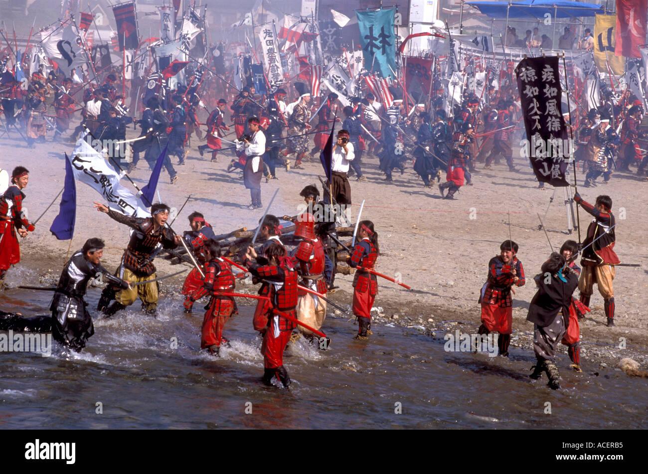Samurai clans clash in reenactment of famous battle scene called Kawanakajima No Kassen in Isawa Onsen - Stock Image