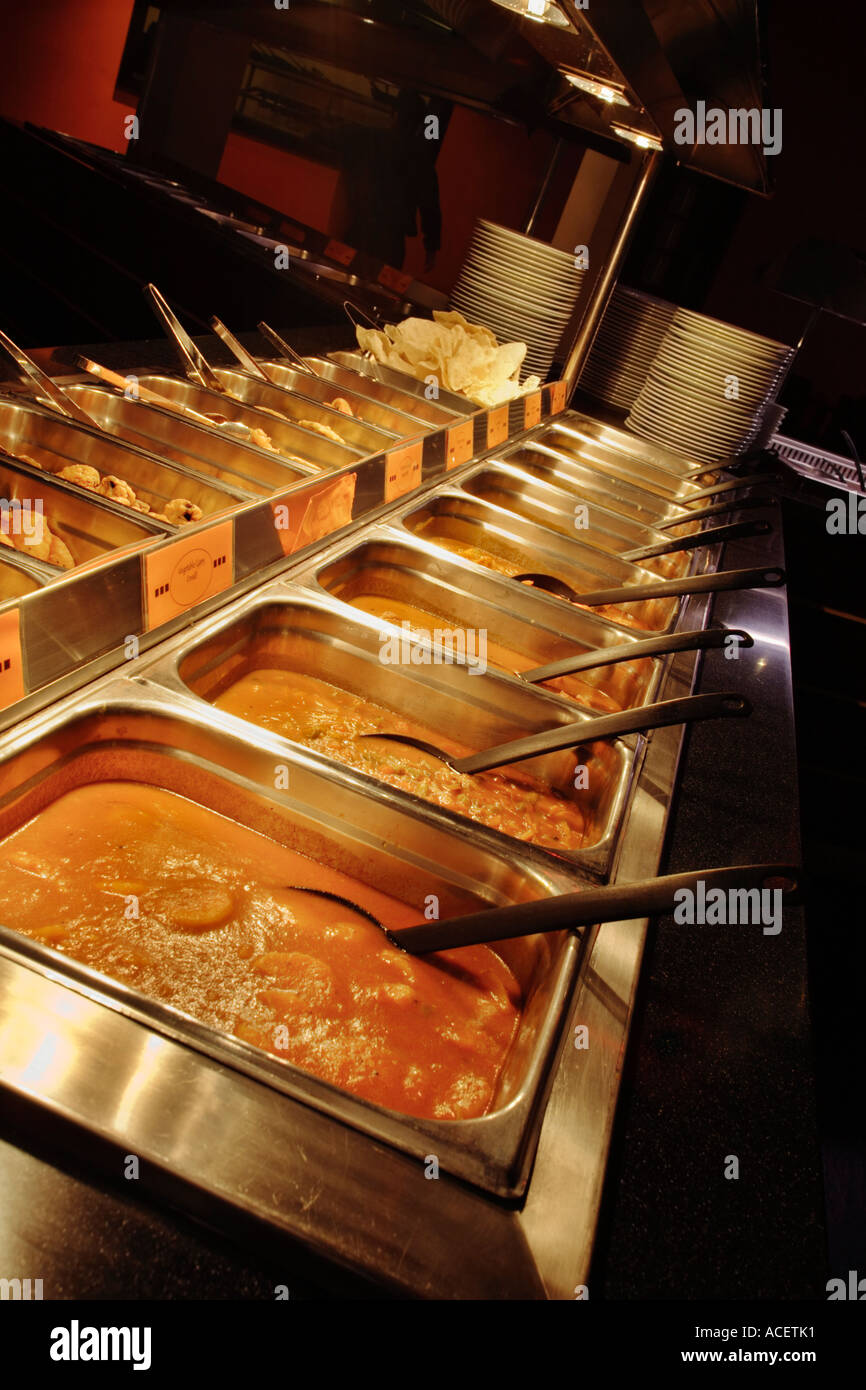 Indian Restaurant curry uk - Serving trays at a help yourself buffet - Stock Image