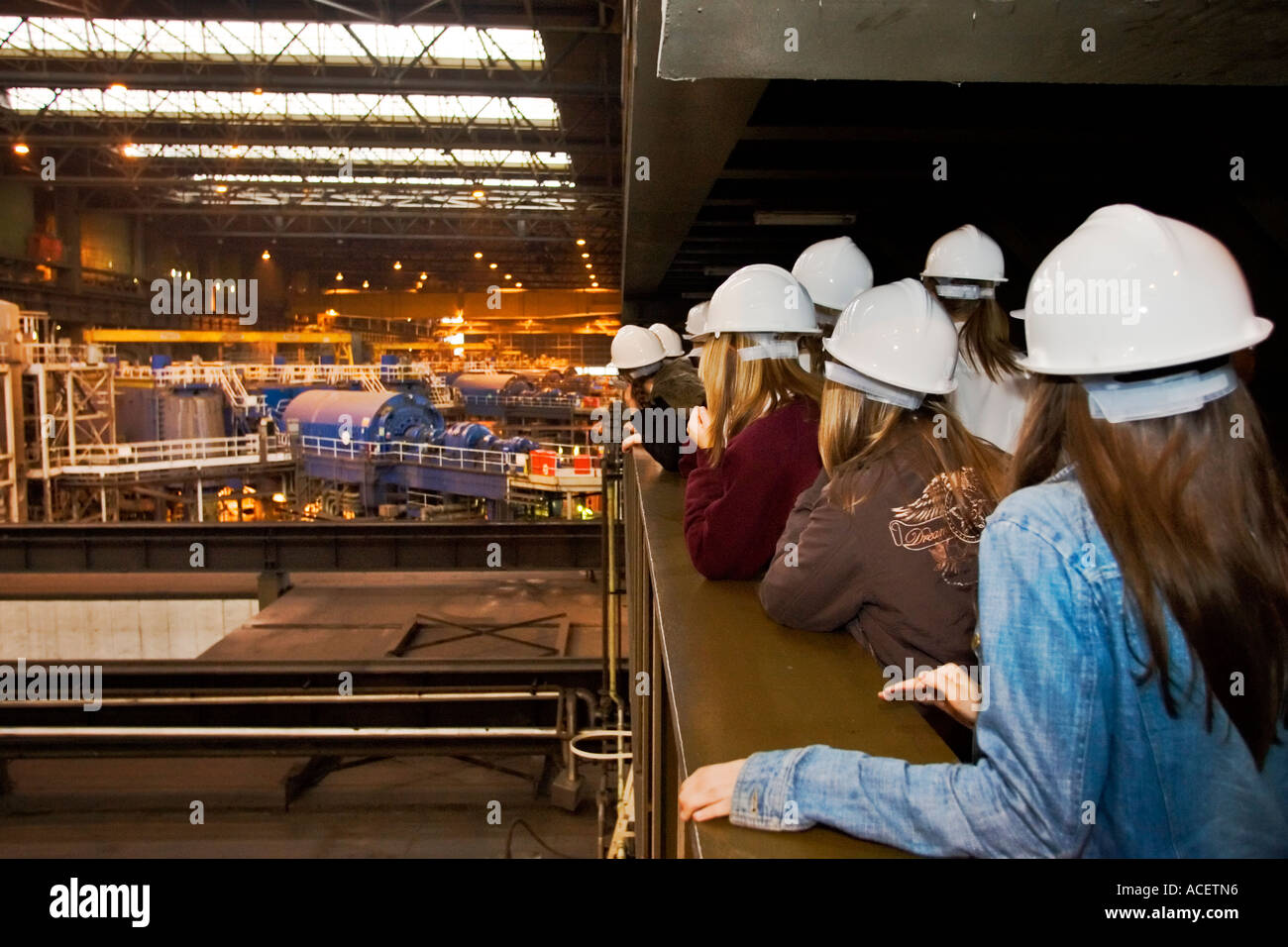 School children on visit to Drax Power Station, North Yorkshire, England, UK - Stock Image