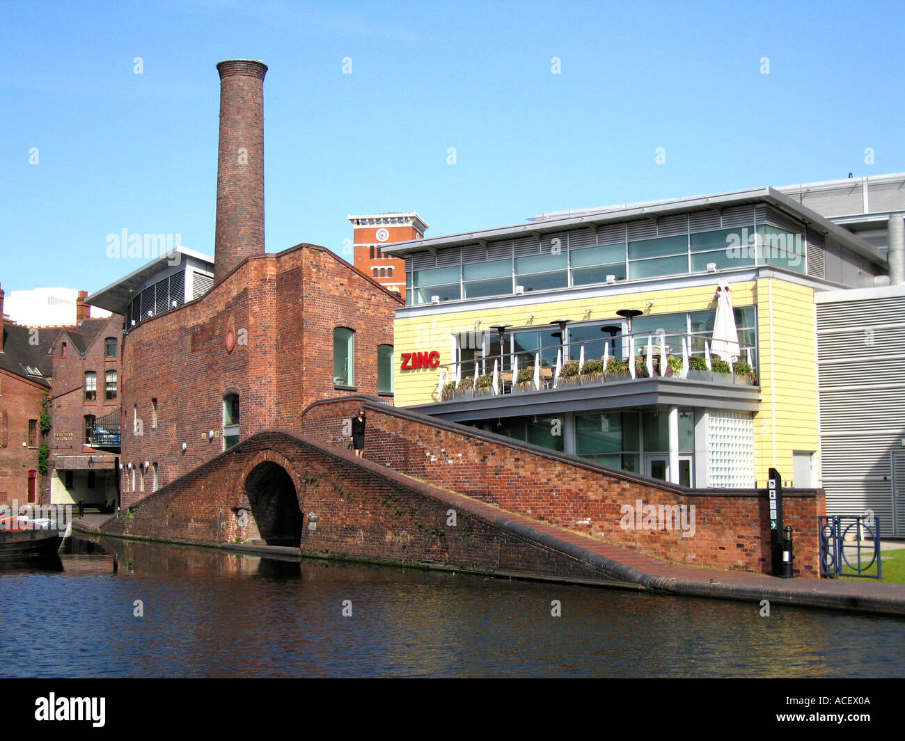 An example of modern architecture used to re vitalise the canal basin in the centre of Birmingham England UK - Stock Image