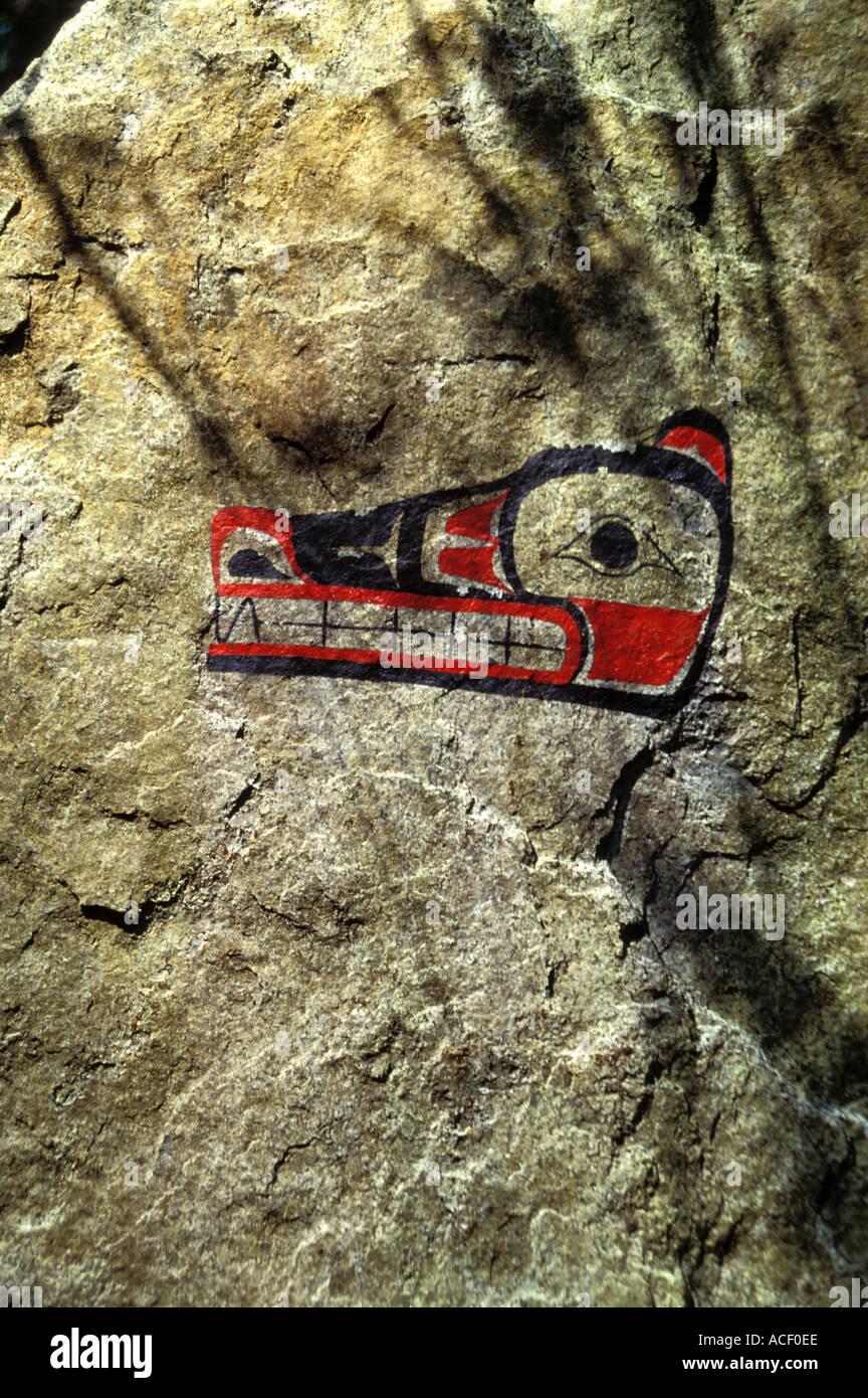 Modern pictograph at the entrance to Skookumchuck Narrows Provincial Park British Columbia Canada - Stock Image