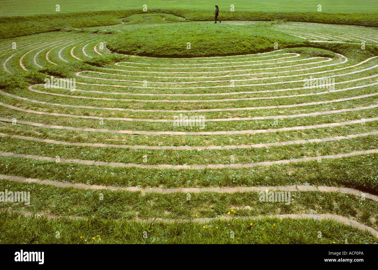 Turf Maze, Saffron Walden, Essex England UK mazes - Stock Image