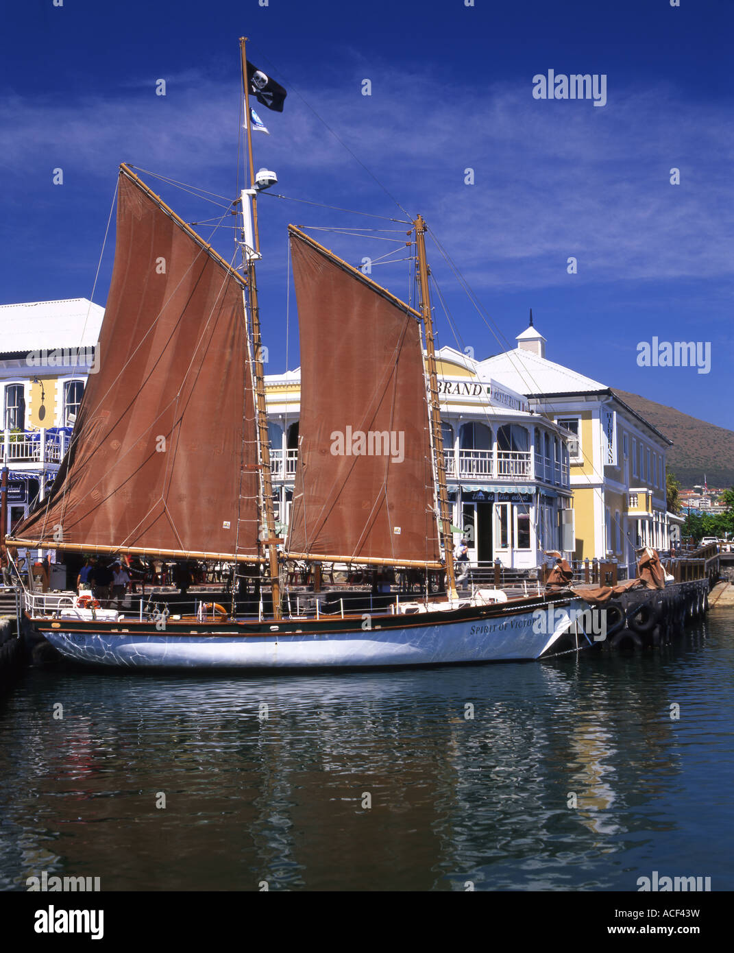 Spirit of Victoria ketch moored at the V&A waterfront in Cape Town, Western Cape; South Africa - Stock Image