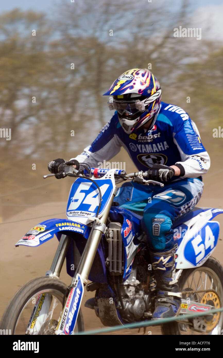 Close up of Motocross rider during race - Stock Image