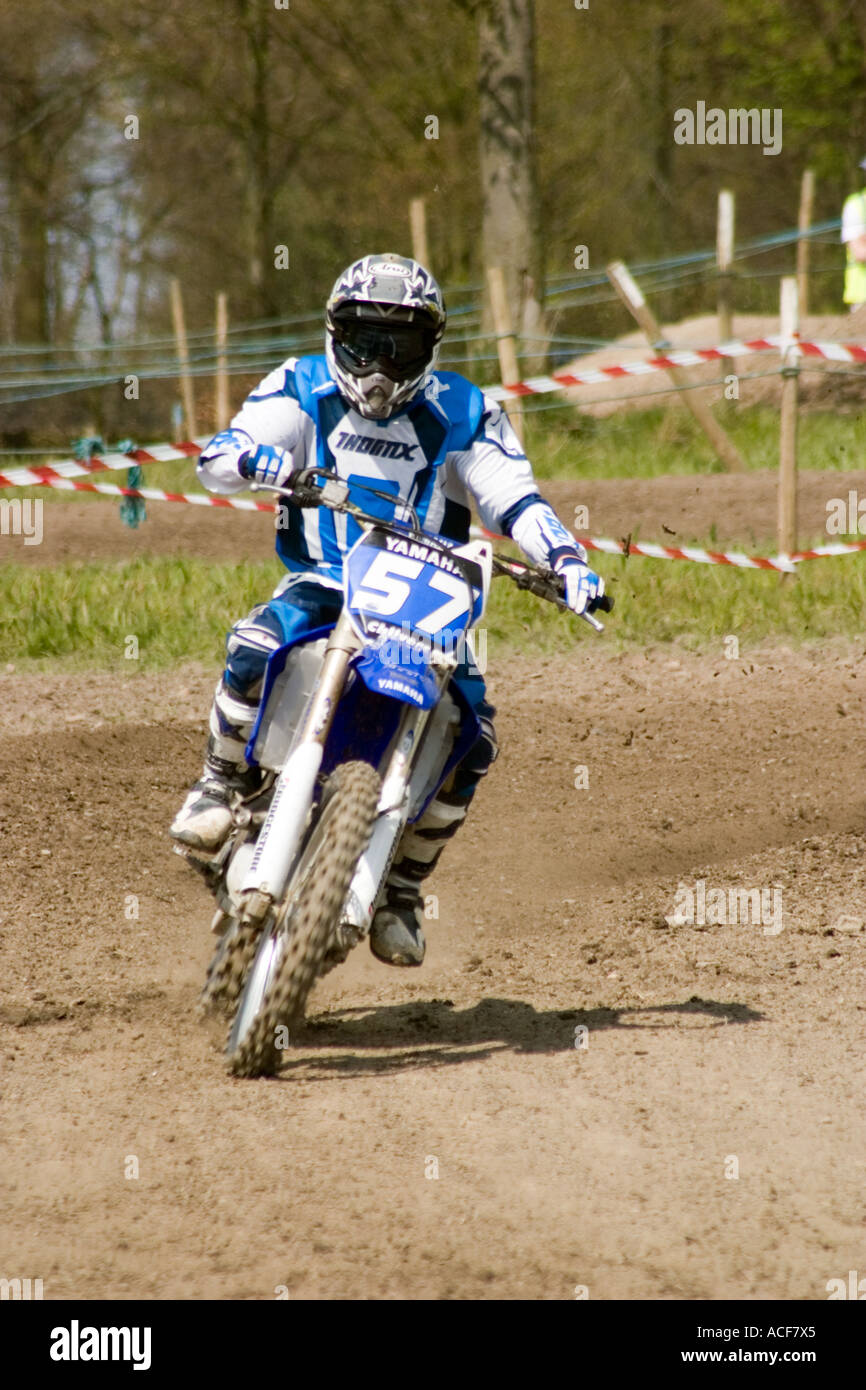 Motocross riders during race Stock Photo