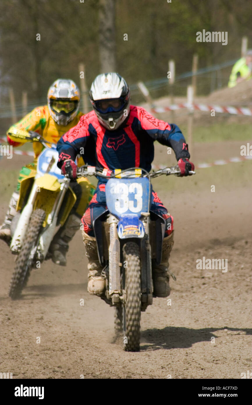 Motocross riders during race - Stock Image