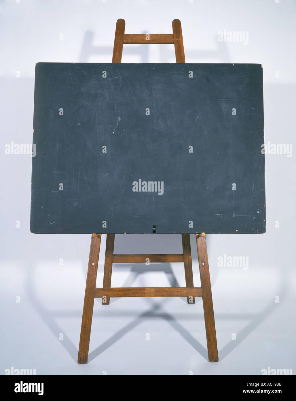 Blackboard school Black board on wood stand - Stock Image
