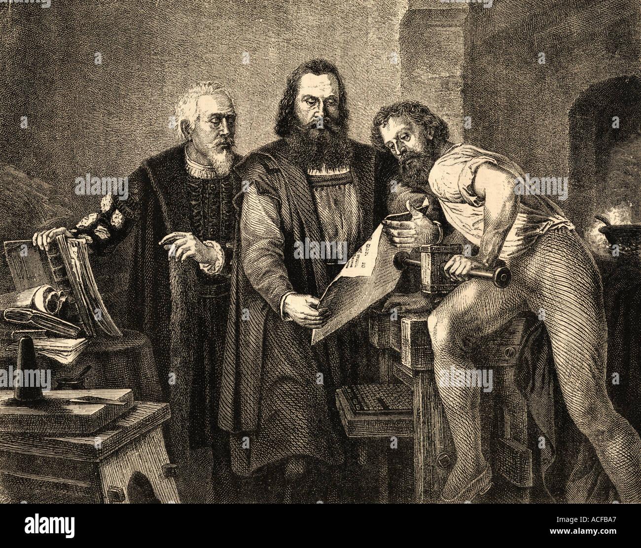 Johann Fust or Faust c.1400 - 1466, John Gutenberg, 1400 -1468 and Peter Schoeffer or Petrus Schoeffer. c. 1425 Stock Photo
