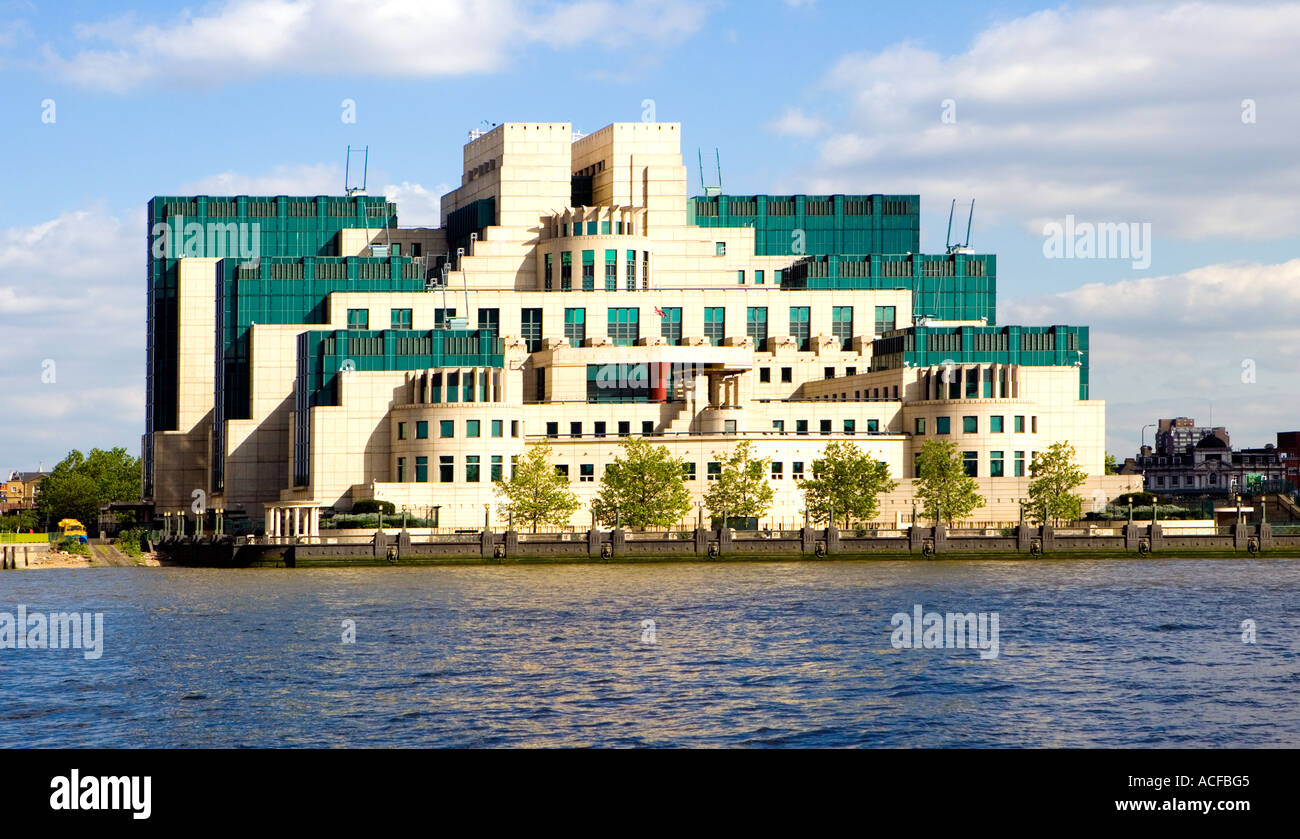 MI6 HQ - London. View from Millbank across the Thames, glorious day. Stock Photo
