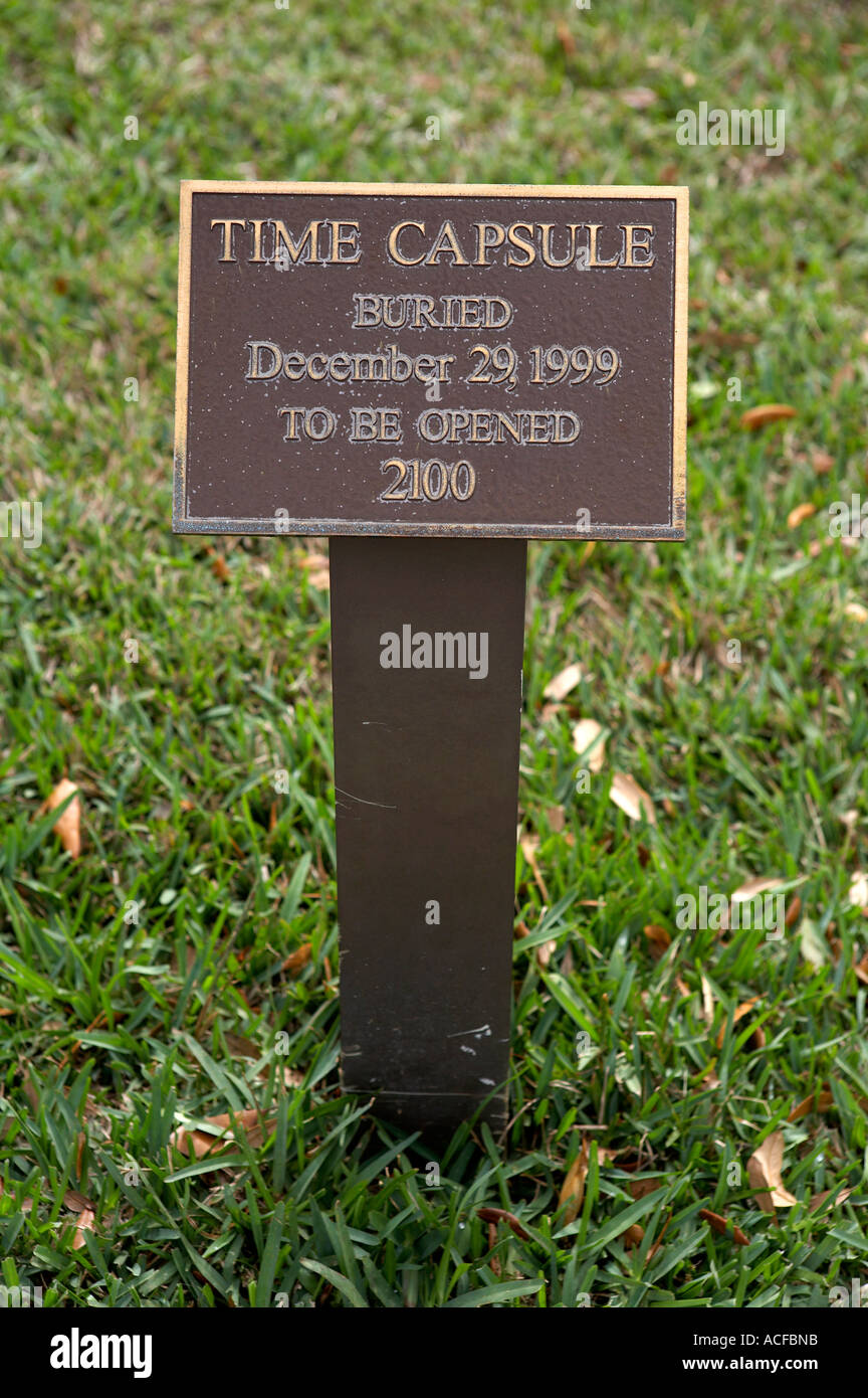 Sign marking the spot where a time capsule has been buried outside city hall in Venice, florida America united states Stock Photo