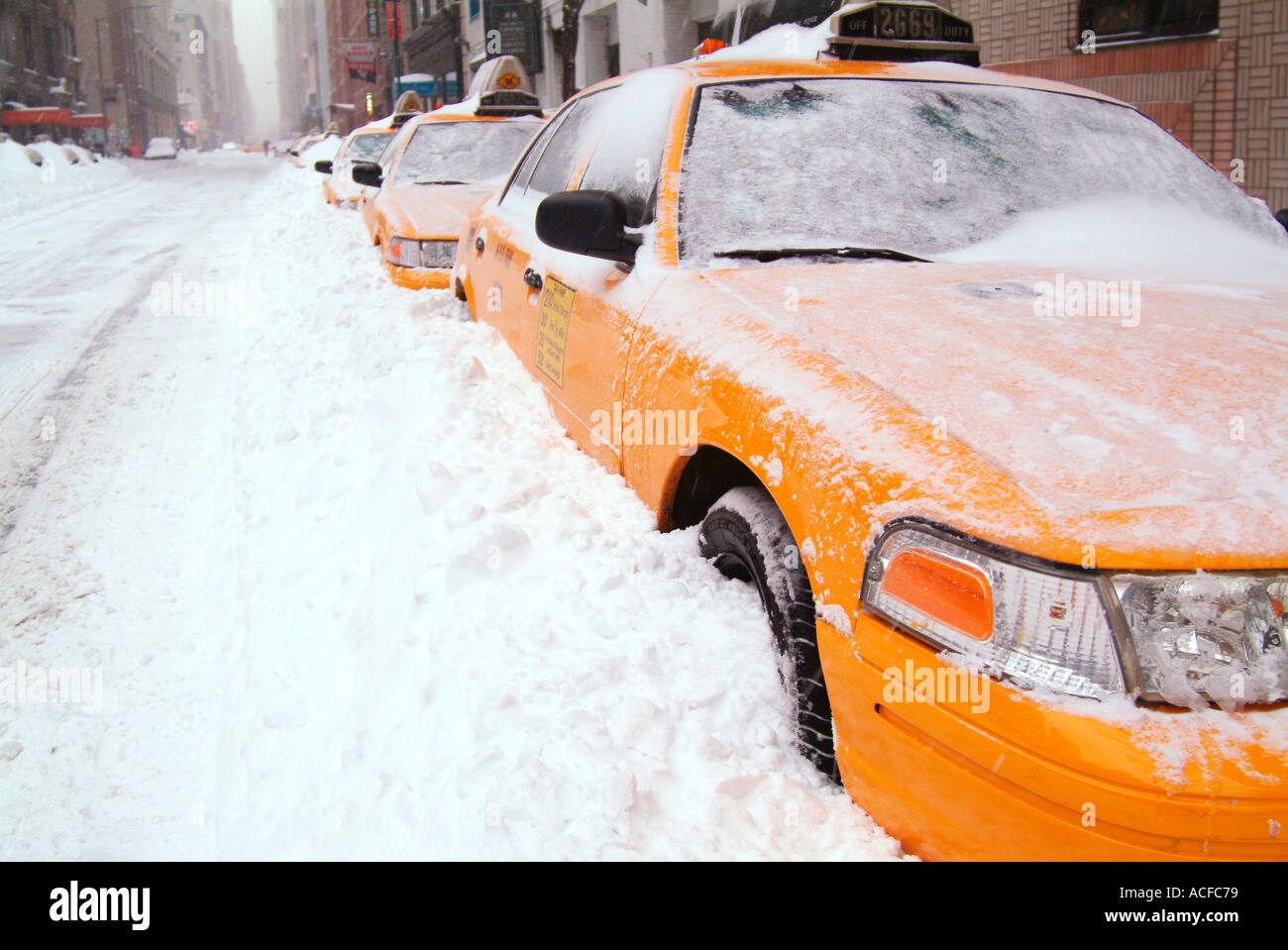 Taxi Cabs Snowed In - Stock Image