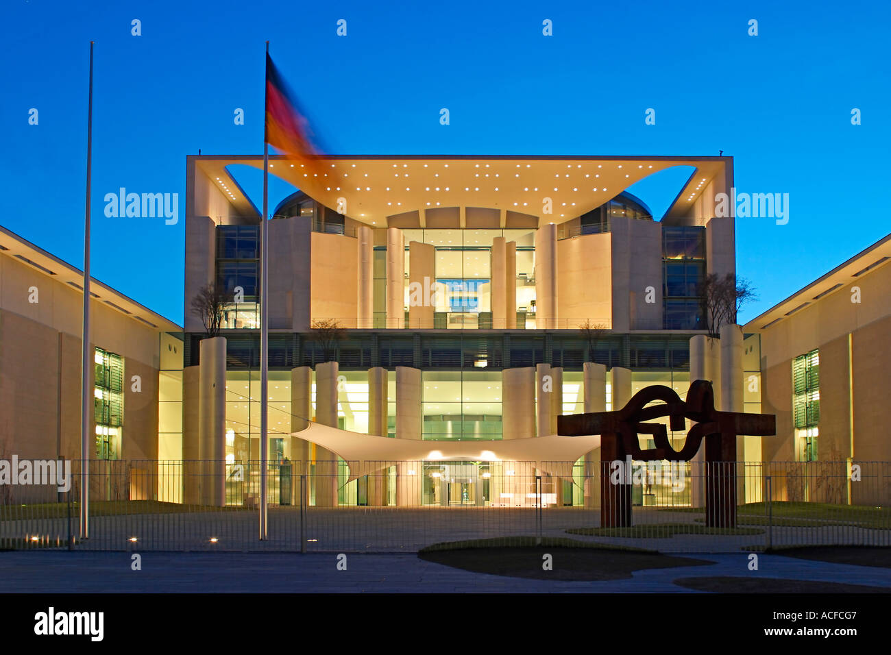 Berlin The Kanzleramt seat of germany Bundeskanzler Lord Chancellor Berlin Germany Europe Architecture by Axel Schultes and Char - Stock Image