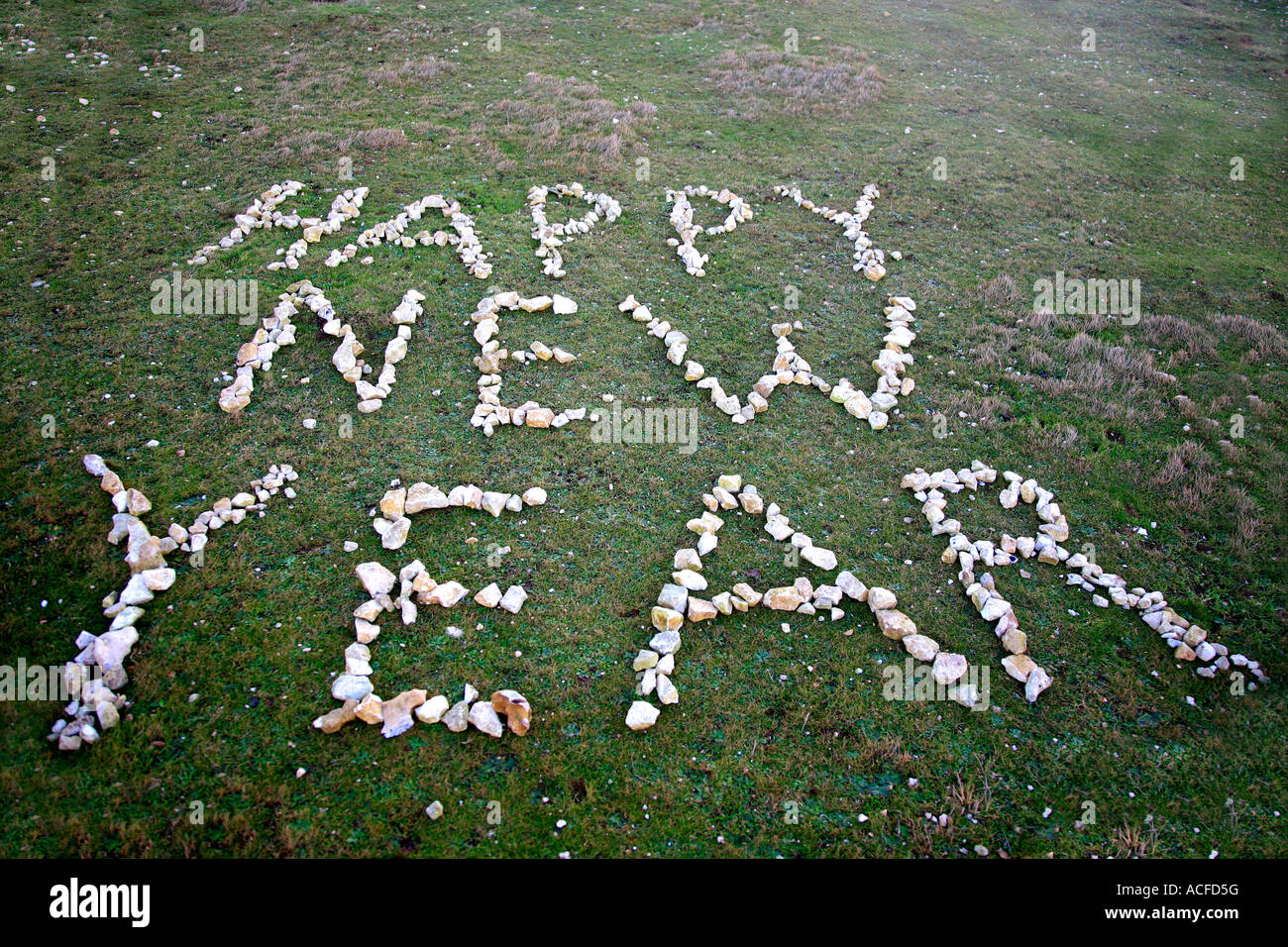 Happy New Year in Pebbles on Green Grass - Stock Image
