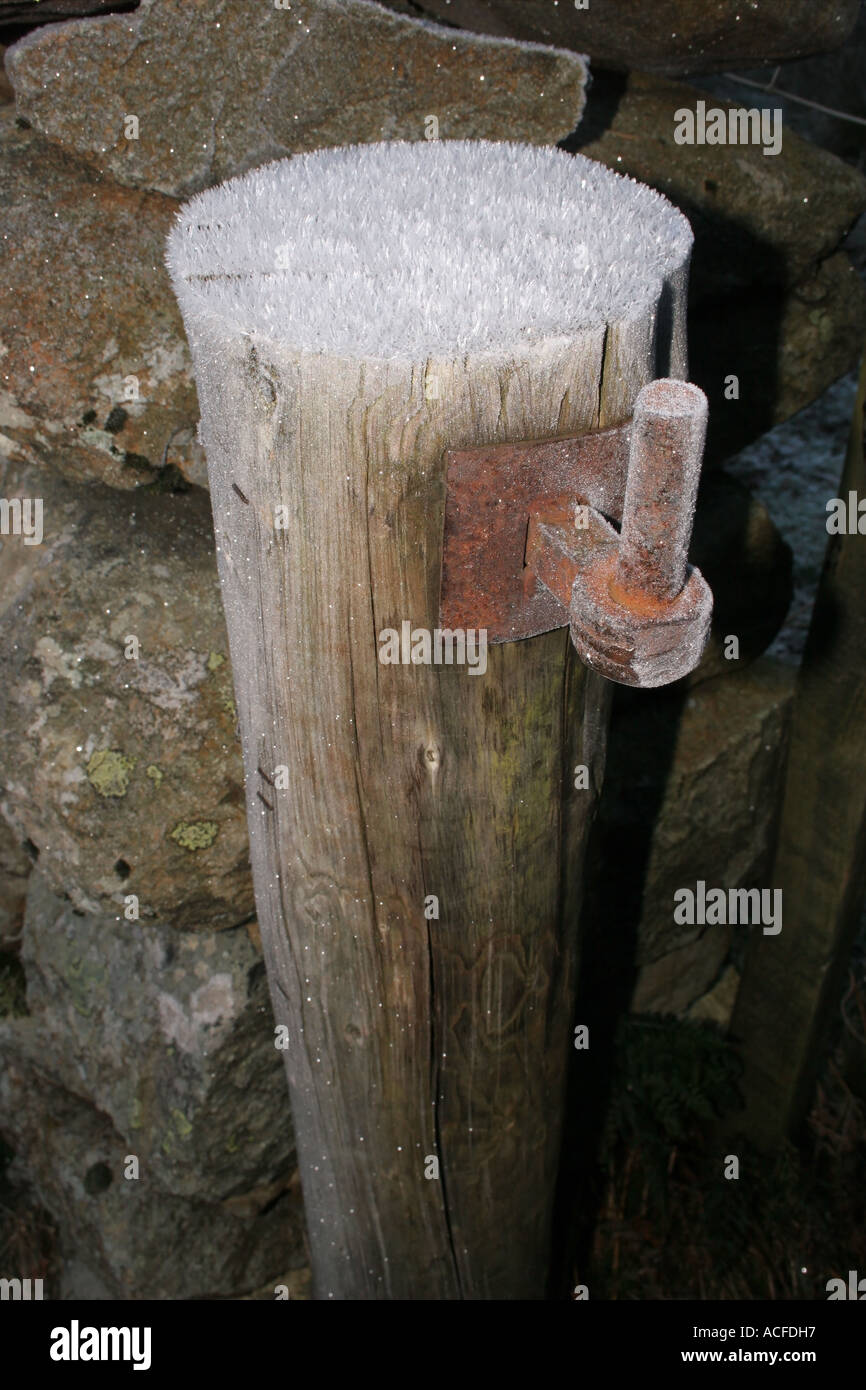 Frost Covered Gatepost and Hinge - Stock Image