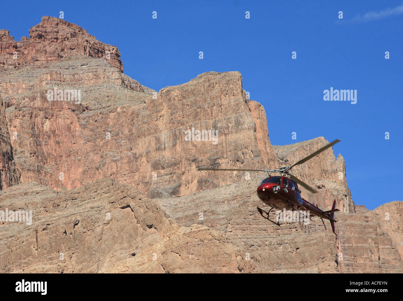 Helicopter trip into the Grand Canyon, Arizona USA. - Stock Image
