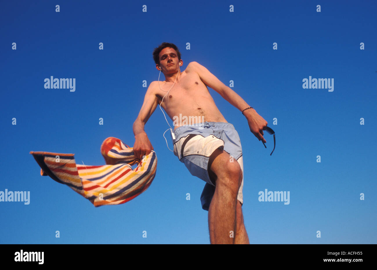Tall thin German guy losing his balance - Stock Image