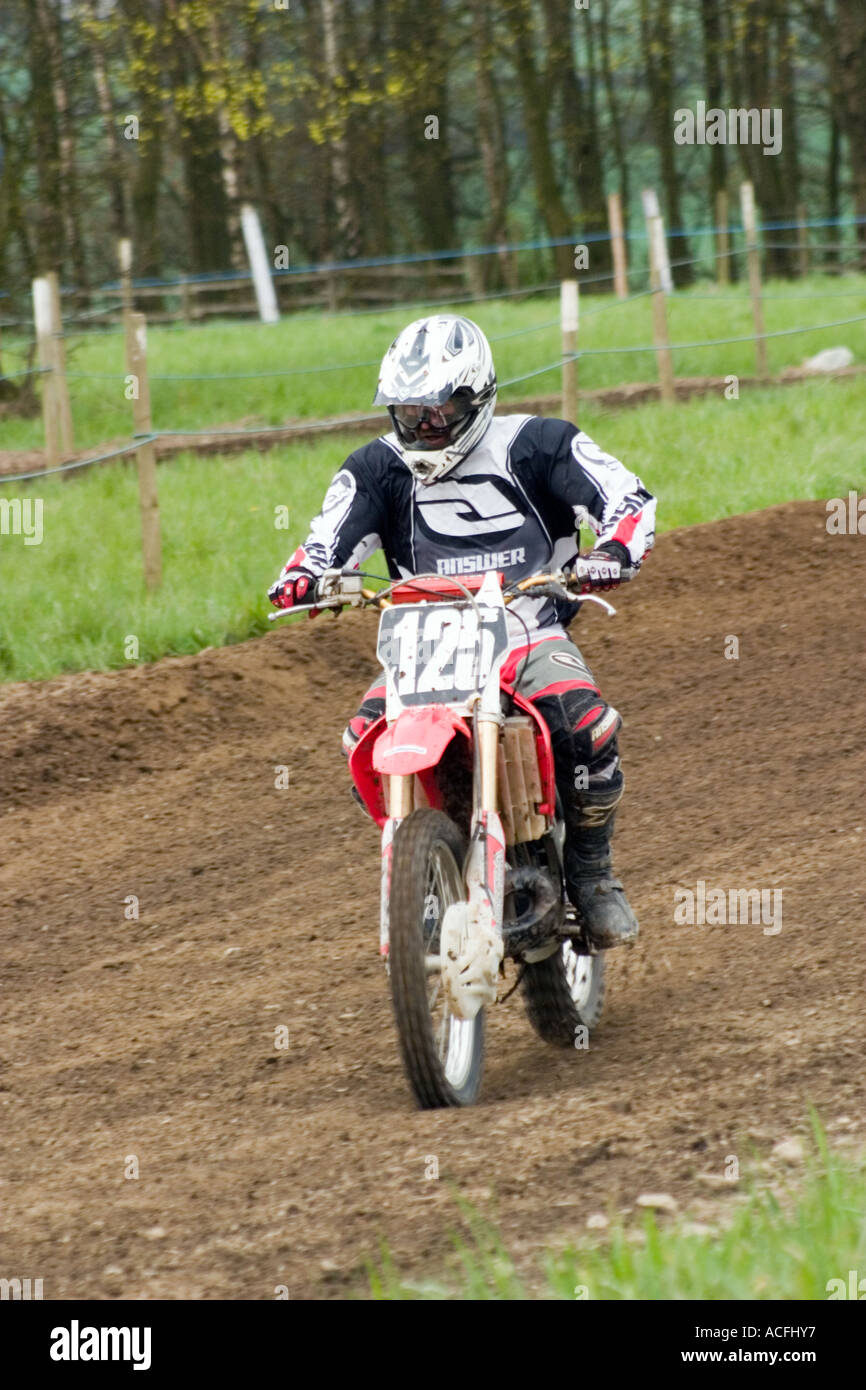 Motocross rider during race - Stock Image