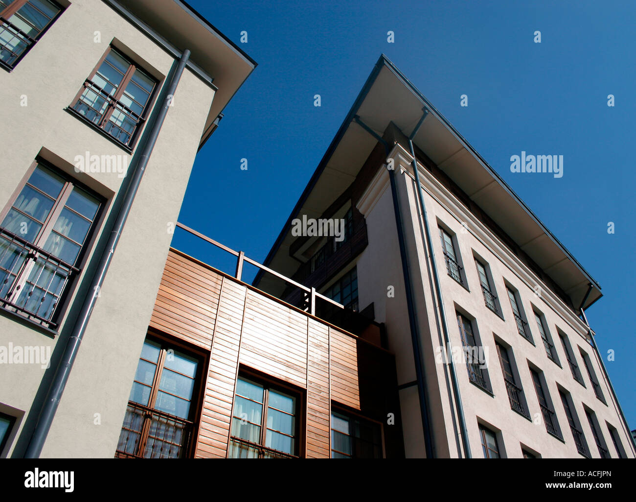 High rise house on blue sky background Stock Photo