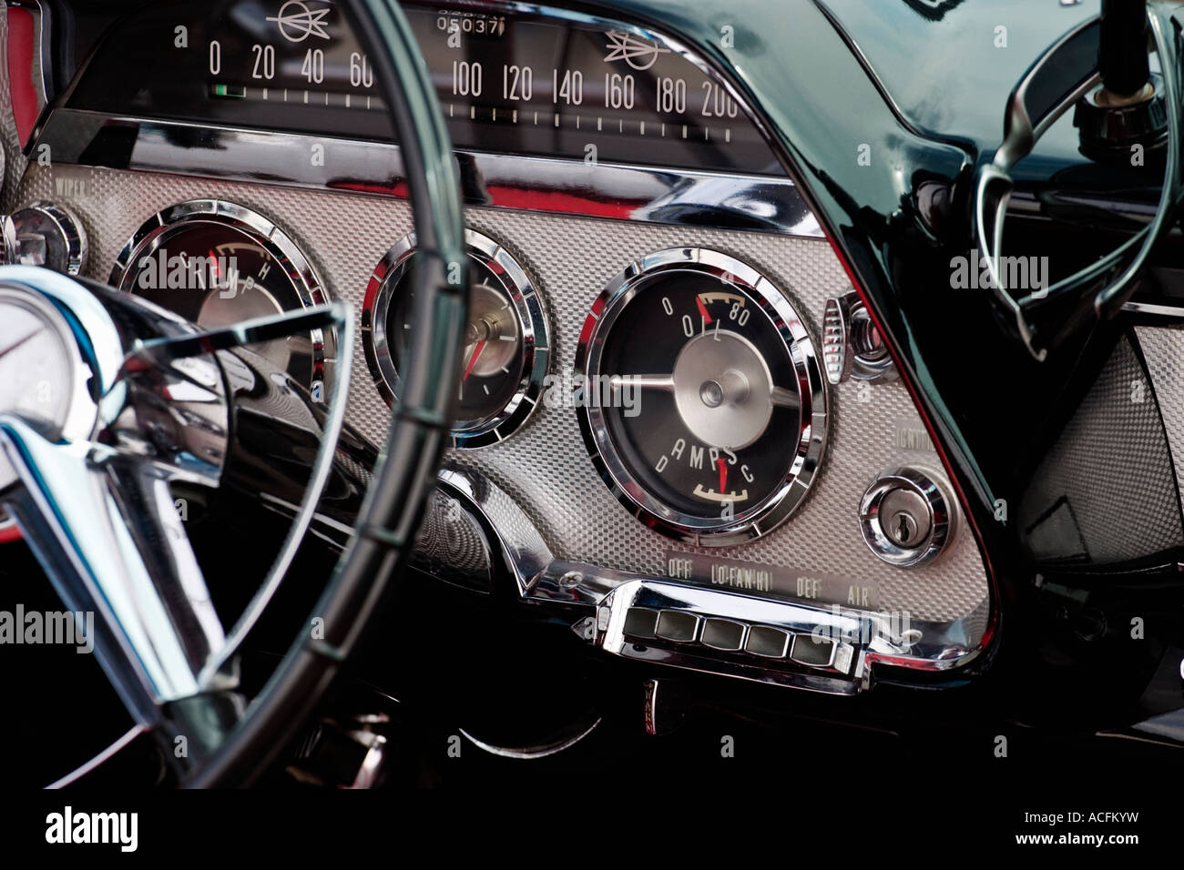 The interior in a  Dodge Coronet 1959 convertible - Stock Image