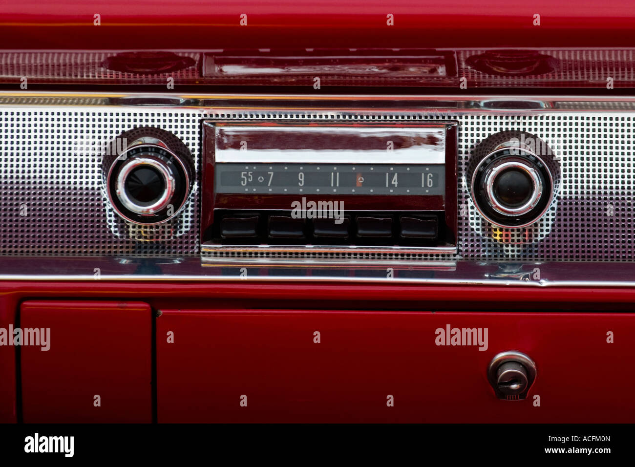 Old car audio in a american car - Stock Image