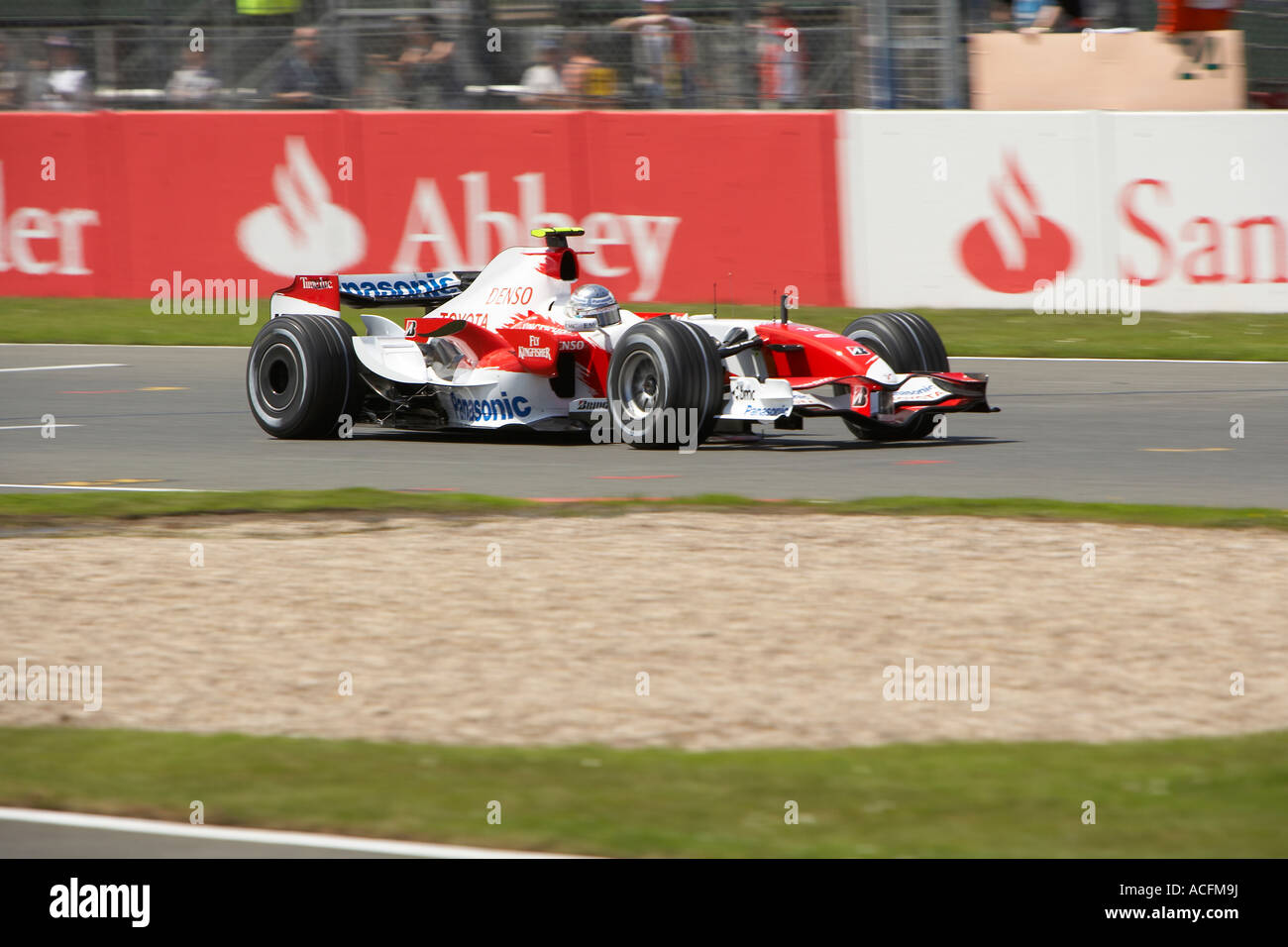 Jarno Trulli driving his Panasonic Toyota at the British Grand Prix 2007 Sliverstone - Stock Image
