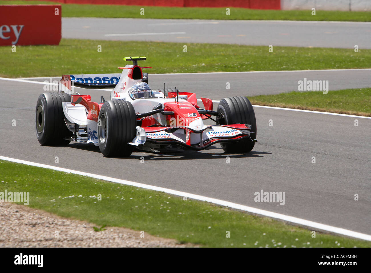 Jarno Trulli driving his Forumla One Panasonic Toyota Racing Car at the British Grand Prix 2007 - Stock Image