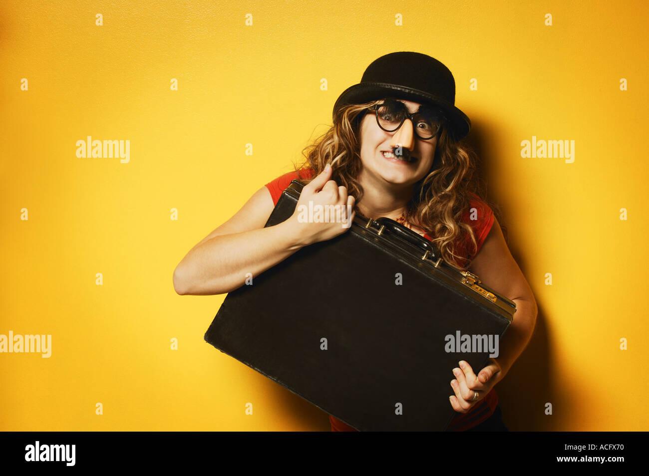 Lady dressed goofy - Stock Image