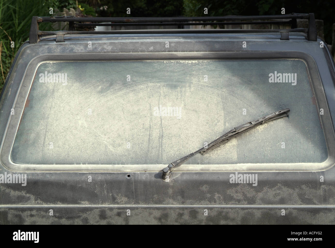 dirty, car, rear, window, unsafe, can't, see, wash, wiper, wiperblade, blade, - Stock Image