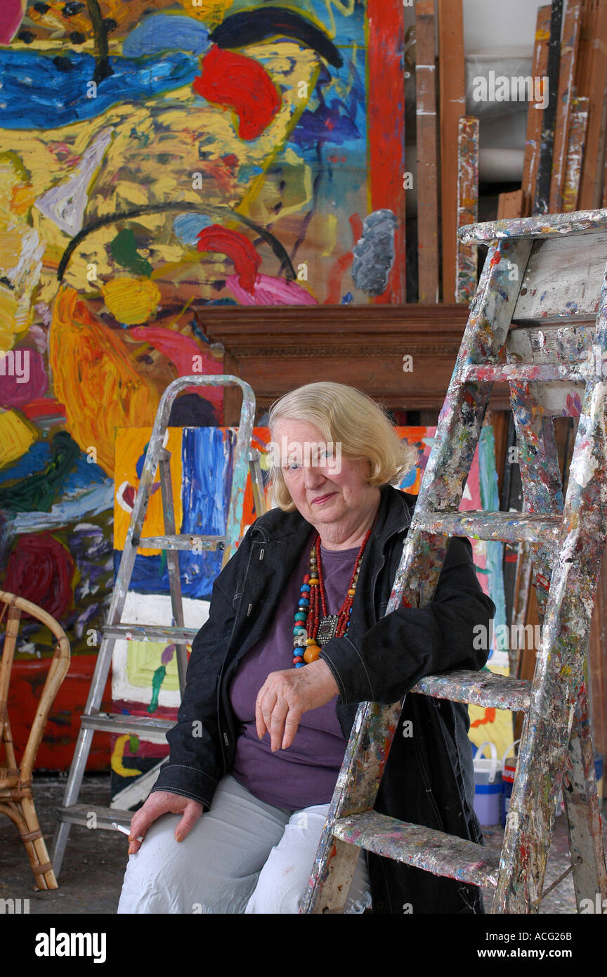 Artist Gillian Ayres at home in Gooseham Cornwall Gillian lost pieces of artwork in the Momart fire - Stock Image