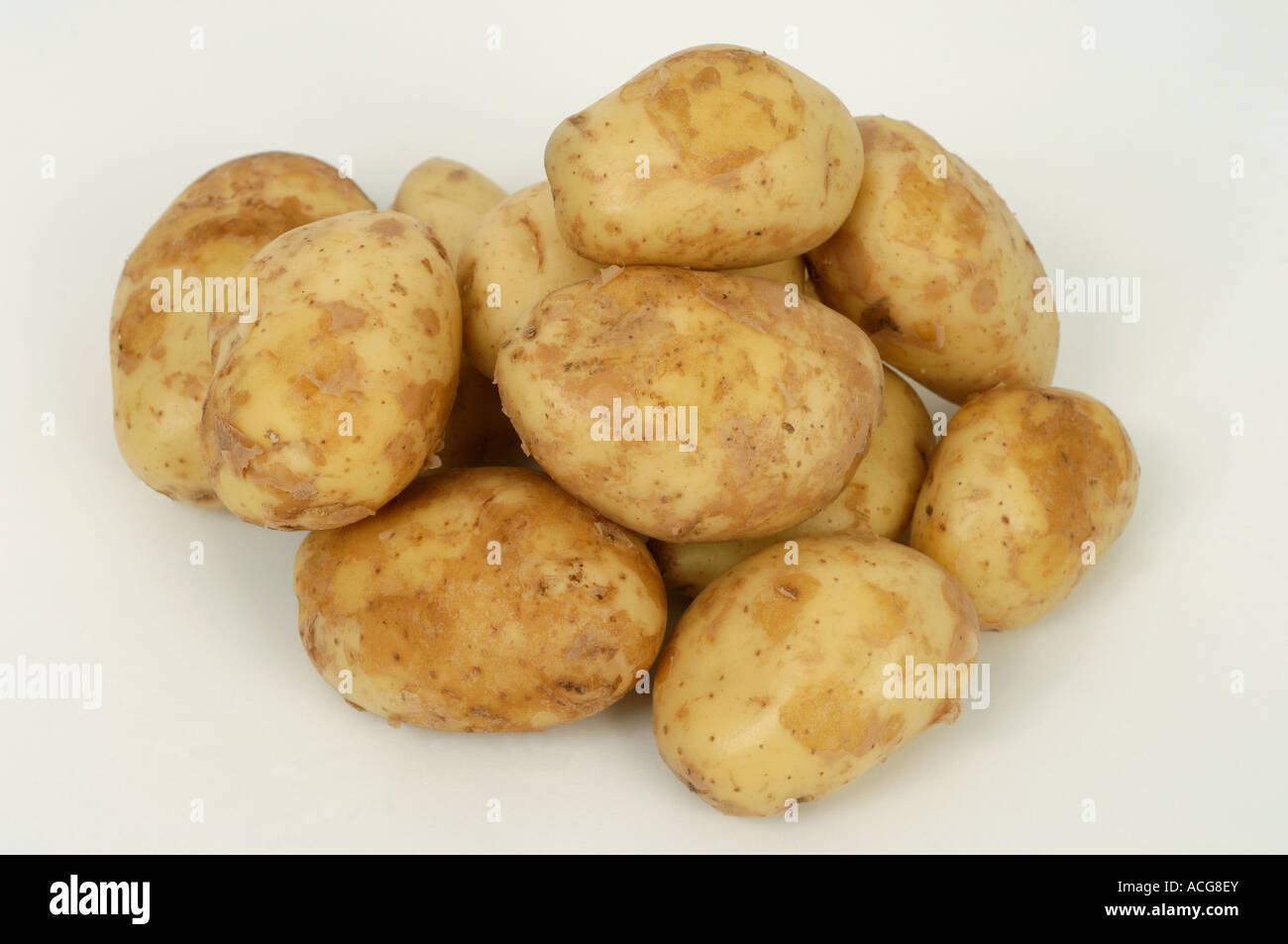 Jersey Royal potatoes ex supermarket shop bought tubers Stock Photo