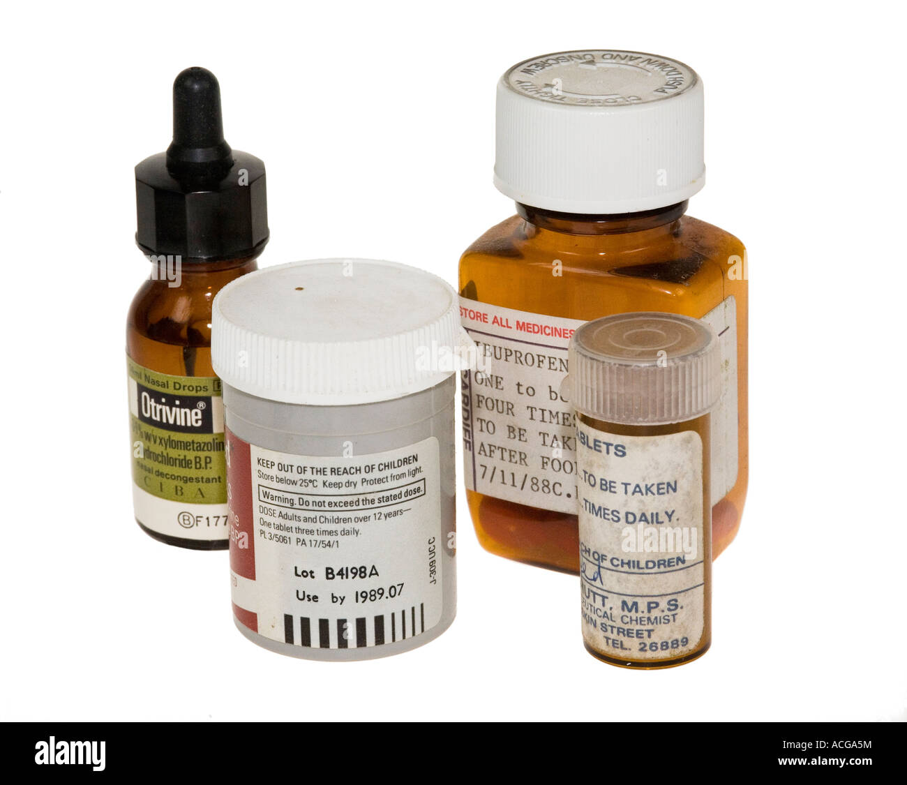 Old outdated medical pills and drops for disposal UK - Stock Image