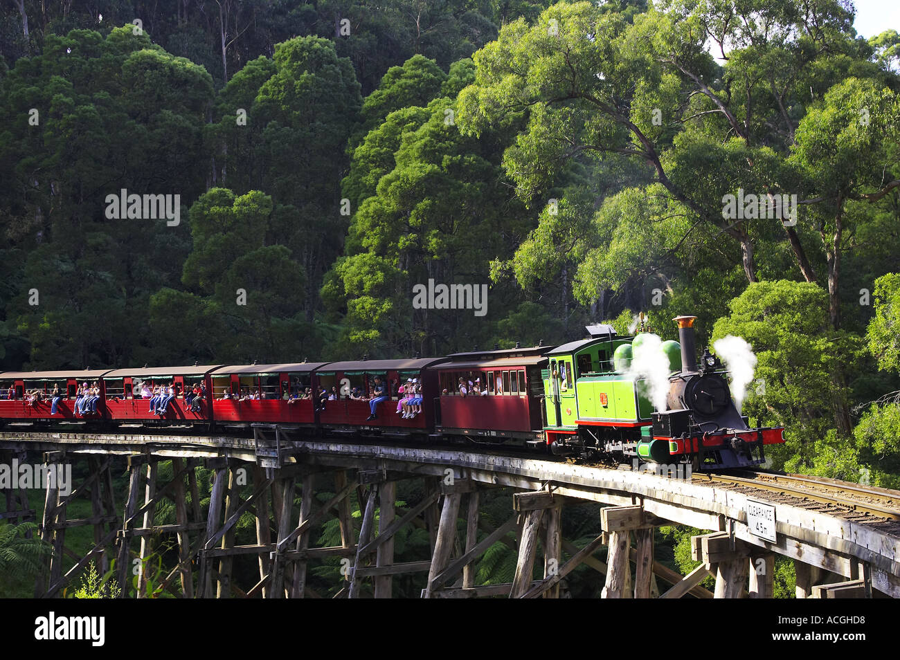 Puffing Billy Steam Train Dandenong Ranges near Melbourne Victoria Australia - Stock Image