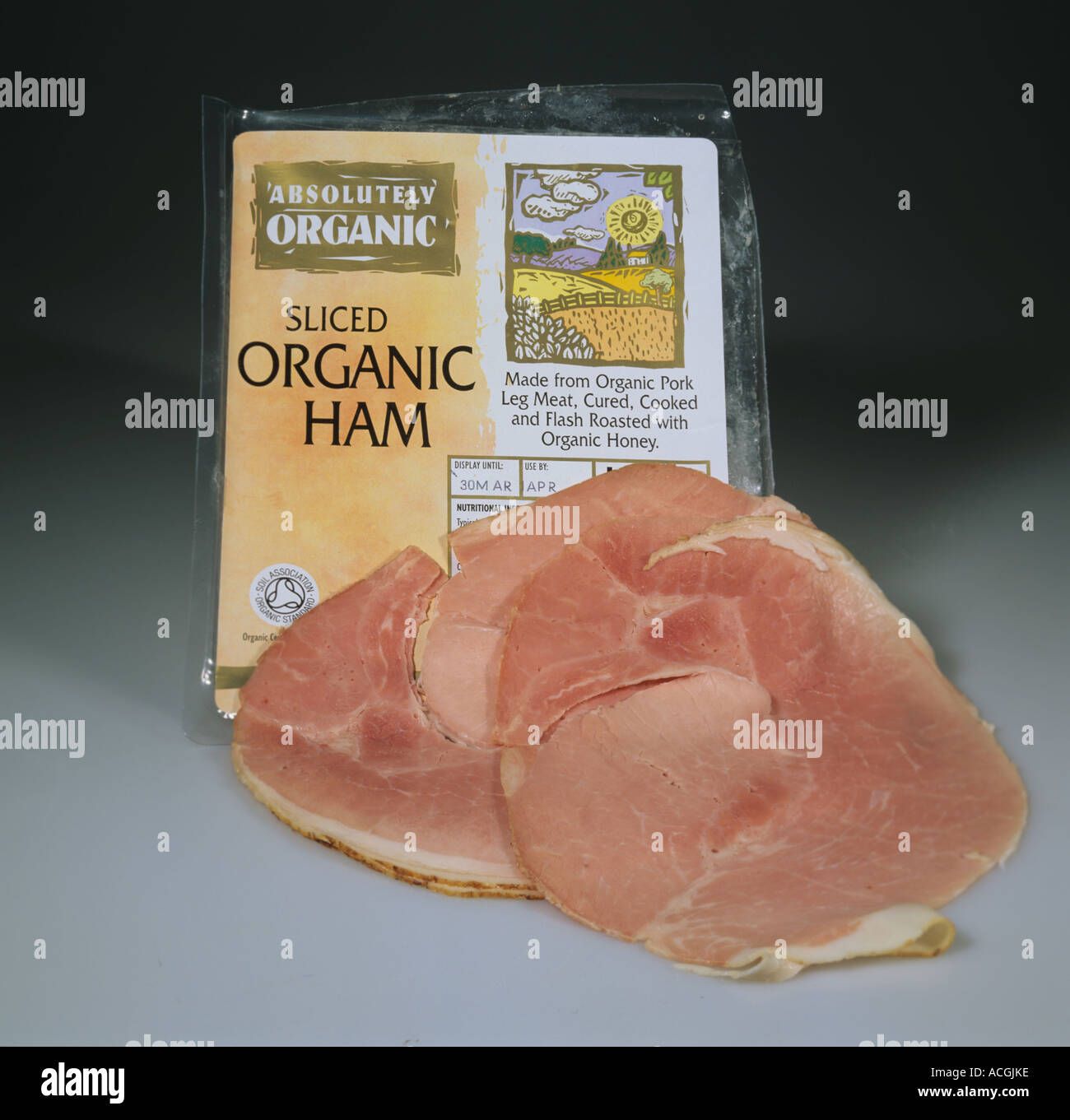 A retail pack of organic ham from organically reared pigs - Stock Image