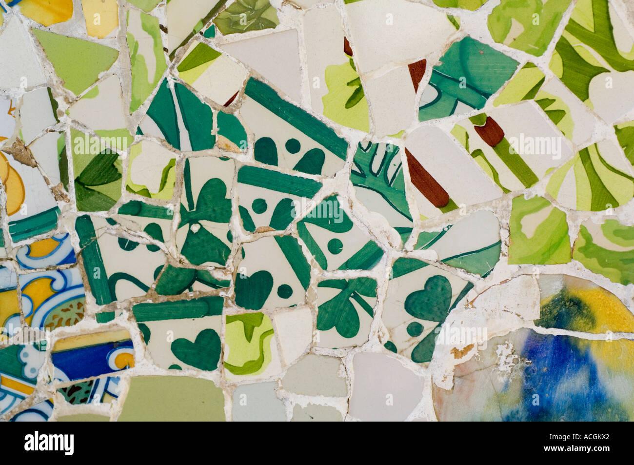 Trencadis, mosaic in Park Guell (1900-1914), Antoni Gaudi, Barcelona, Catalunya, Spain, Europe - Stock Image