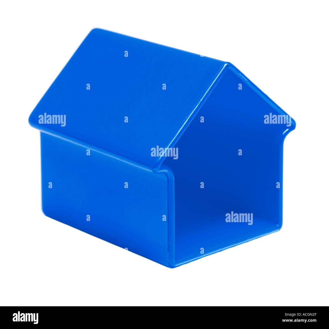 Blue toy house shape - Stock Image