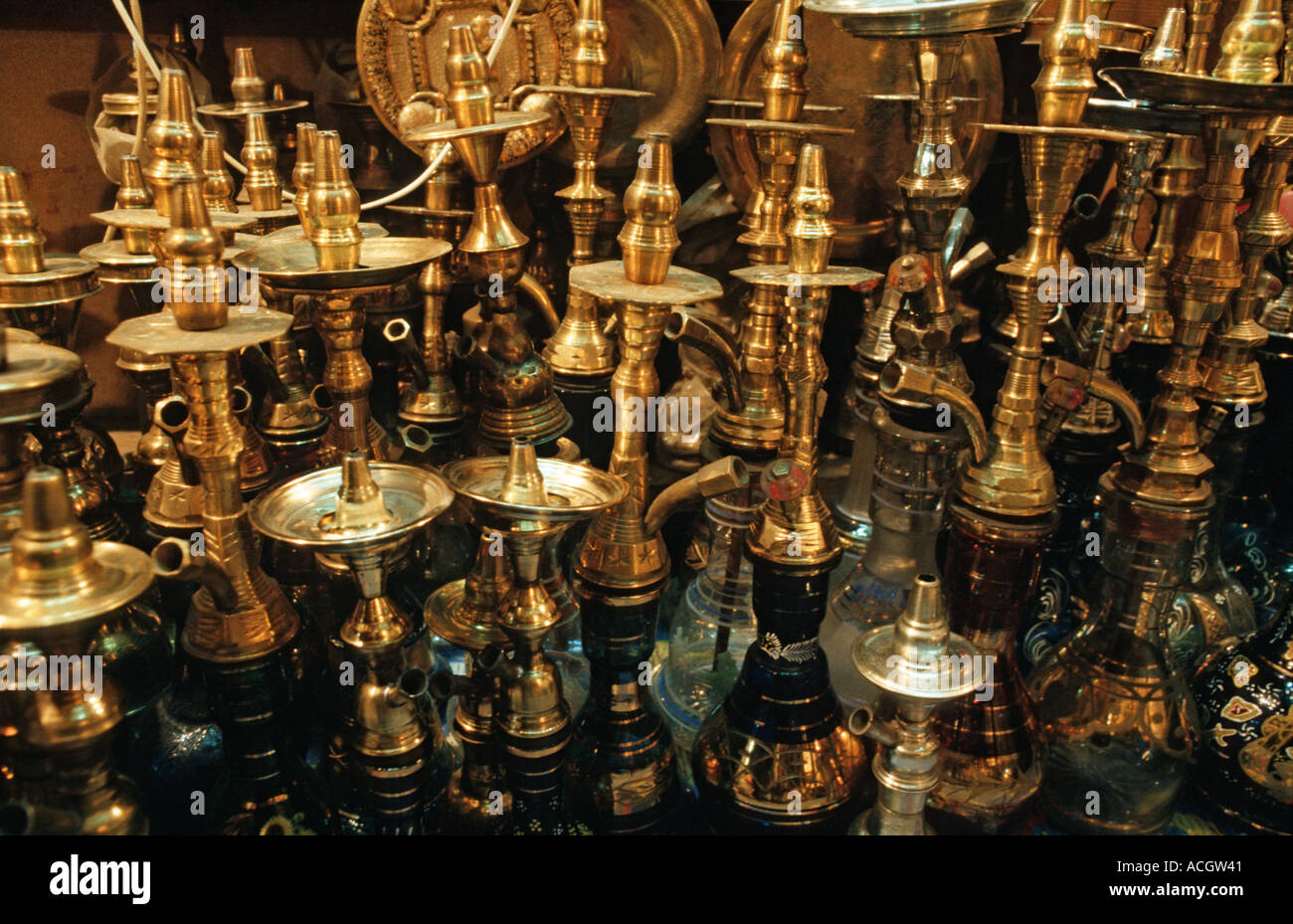 Selection of brass as sold in markets throughout Egypt including Cairo and Luxor - Stock Image