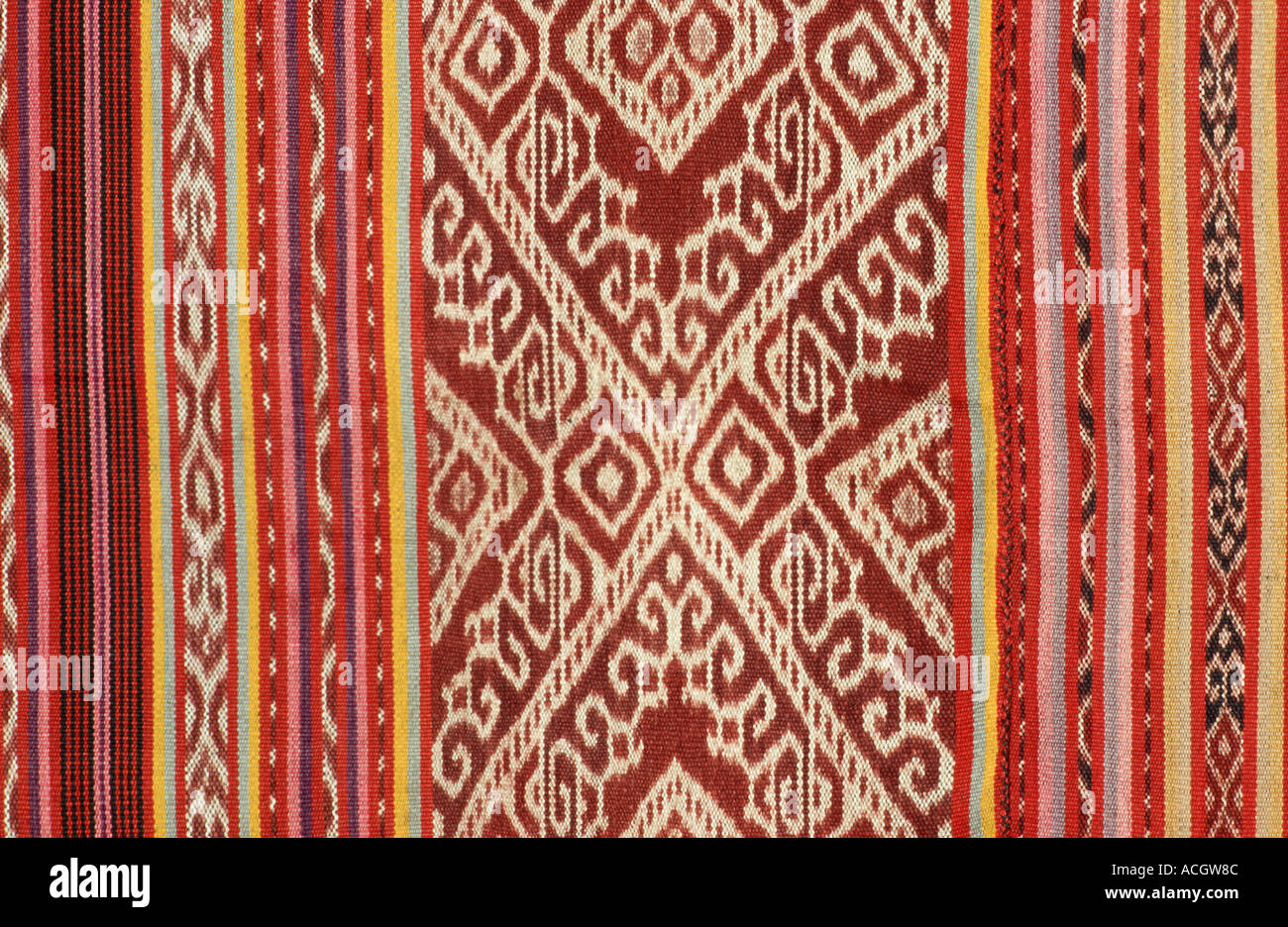 Detail of ikat decorated skirt fabric from Timor Indonesia Stock Photo