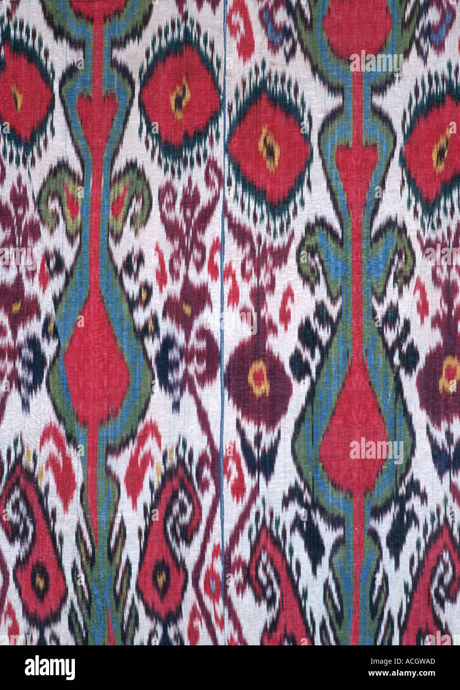 Ikat patterned silk fabric from Uzbekistan A textile tradition practised by both the Tadjik and Uzbek peoples Central Asia - Stock Image